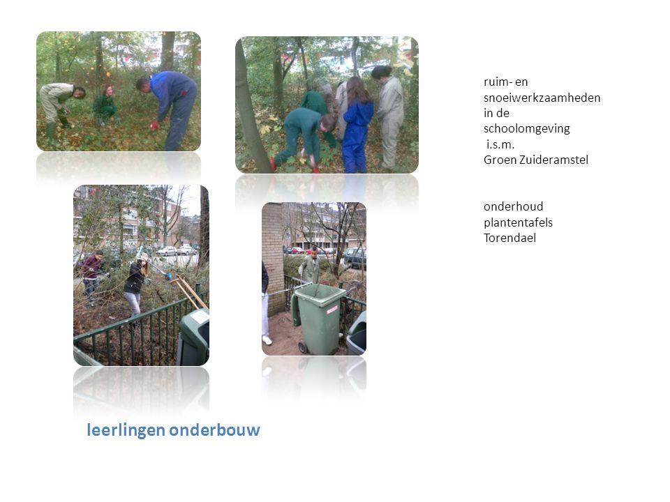 leerlingen onderbouw ruim- en snoeiwerkzaamheden in de schoolomgeving i.s.m. Groen Zuideramstel onderhoud plantentafels Torendael
