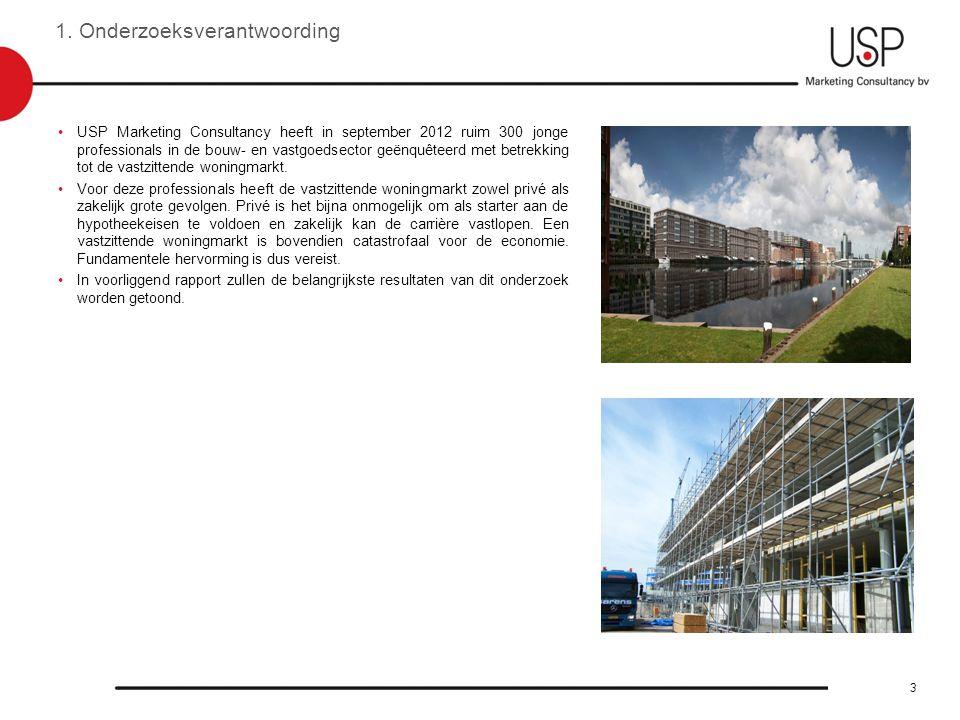 1. Onderzoeksverantwoording •USP Marketing Consultancy heeft in september 2012 ruim 300 jonge professionals in de bouw- en vastgoedsector geënquêteerd