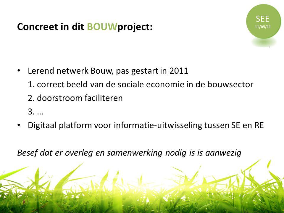 Concreet in dit BOUWproject: • Lerend netwerk Bouw, pas gestart in 2011 1. correct beeld van de sociale economie in de bouwsector 2. doorstroom facili