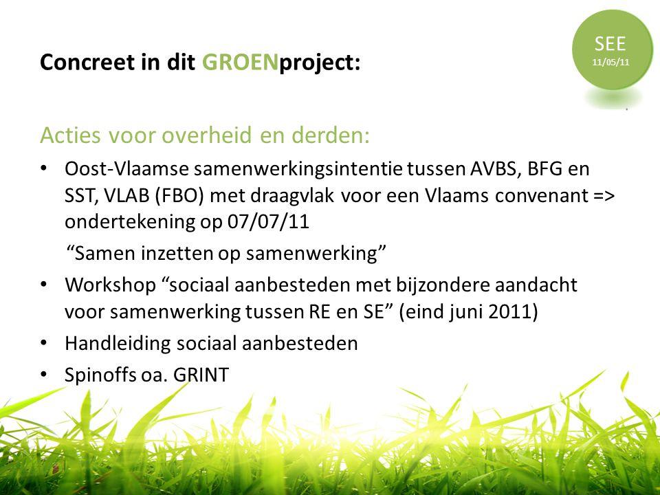 Concreet in dit GROENproject: Acties voor overheid en derden: • Oost-Vlaamse samenwerkingsintentie tussen AVBS, BFG en SST, VLAB (FBO) met draagvlak v