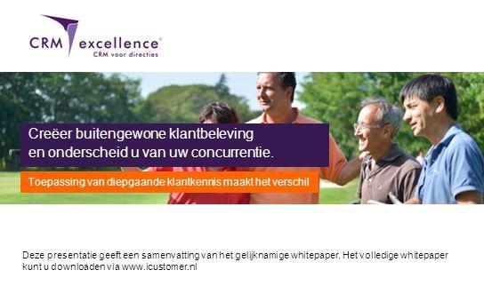 Download het volledige whitepaper via www.icustomer.nl Deze presentatie geeft een samenvatting van het gelijknamige whitepaper. Het volledige whitepap