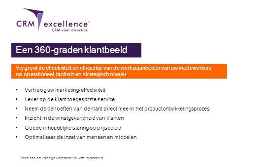 Download het volledige whitepaper via www.icustomer.nl Een 360-graden klantbeeld Vergroot de effectiviteit en efficiëntie van de werkzaamheden van uw
