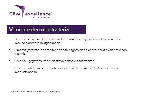 Download het volledige whitepaper via www.icustomer.nl Voorbeelden meetcriteria •Gegevens over snelheid van handelen, zoals levertijden en snelheid wa