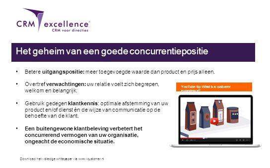 Download het volledige whitepaper via www.icustomer.nl Een buitengewone klantervaring & Customer Relationship Management (CRM) Op welke wijze zet ú uw klantkennis in om u te onderscheiden van uw concurrenten?