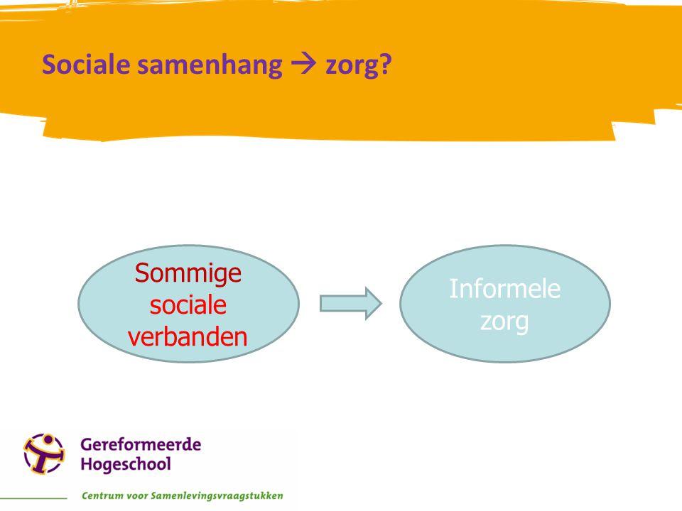 Sociale samenhang  zorg? Sommige sociale verbanden Informele zorg