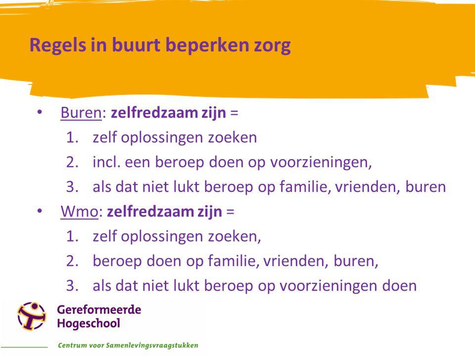 Regels in buurt beperken zorg • Buren: zelfredzaam zijn = 1.zelf oplossingen zoeken 2.incl. een beroep doen op voorzieningen, 3.als dat niet lukt bero