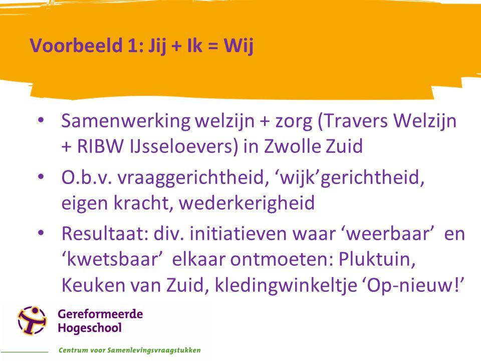 Voorbeeld 1: Jij + Ik = Wij • Samenwerking welzijn + zorg (Travers Welzijn + RIBW IJsseloevers) in Zwolle Zuid • O.b.v. vraaggerichtheid, 'wijk'gerich