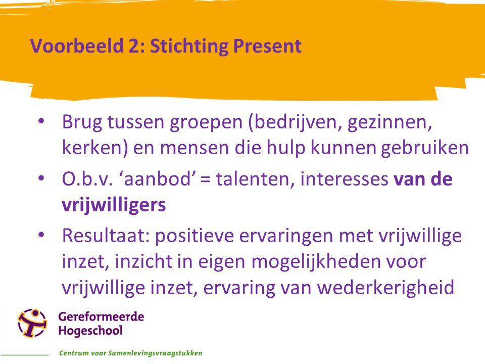 Voorbeeld 2: Stichting Present • Brug tussen groepen (bedrijven, gezinnen, kerken) en mensen die hulp kunnen gebruiken • O.b.v. 'aanbod' = talenten, i