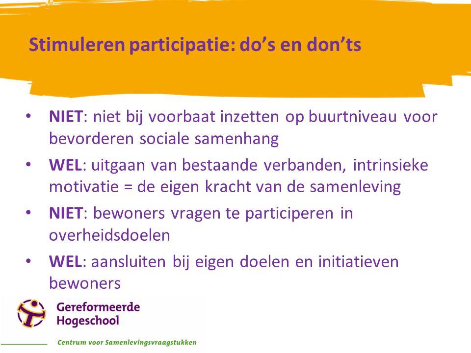 Stimuleren participatie: do's en don'ts • NIET: niet bij voorbaat inzetten op buurtniveau voor bevorderen sociale samenhang • WEL: uitgaan van bestaan