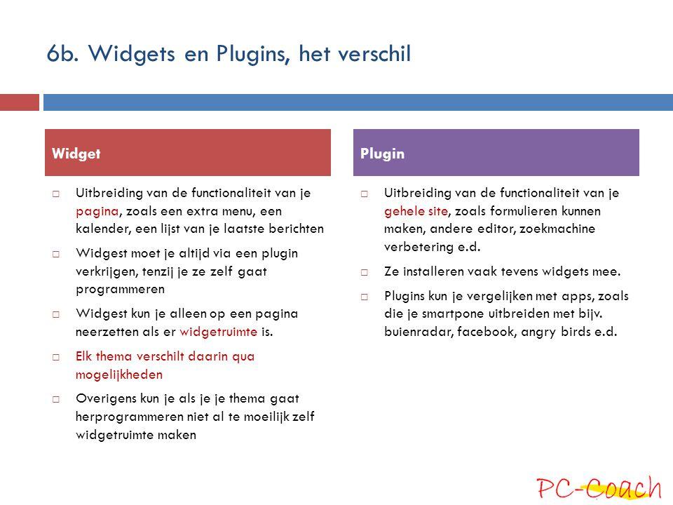 6b. Widgets en Plugins, het verschil  Uitbreiding van de functionaliteit van je pagina, zoals een extra menu, een kalender, een lijst van je laatste