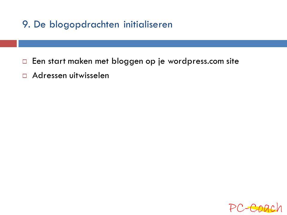 9. De blogopdrachten initialiseren  Een start maken met bloggen op je wordpress.com site  Adressen uitwisselen