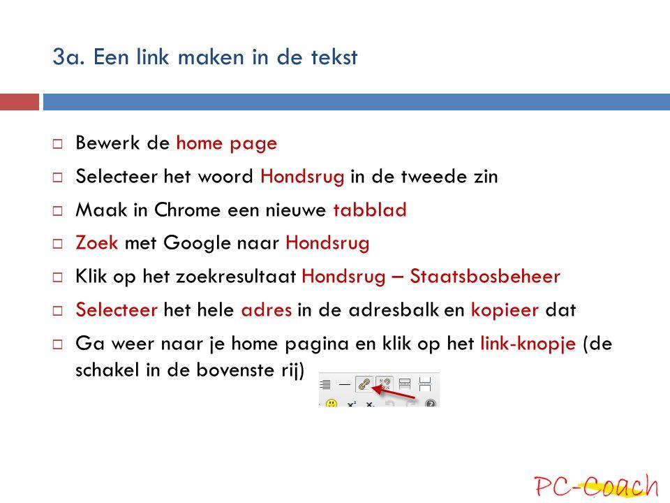 3a. Een link maken in de tekst  Bewerk de home page  Selecteer het woord Hondsrug in de tweede zin  Maak in Chrome een nieuwe tabblad  Zoek met Go