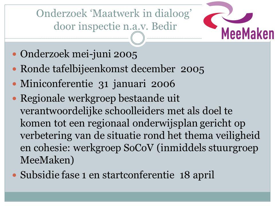 Onderzoek 'Maatwerk in dialoog' door inspectie n.a.v. Bedir  Onderzoek mei-juni 2005  Ronde tafelbijeenkomst december 2005  Miniconferentie 31 janu