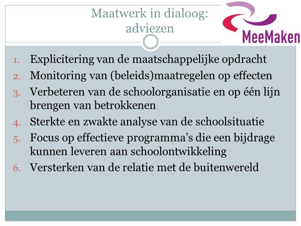 Maatwerk in dialoog: adviezen 1. Explicitering van de maatschappelijke opdracht 2. Monitoring van (beleids)maatregelen op effecten 3. Verbeteren van d
