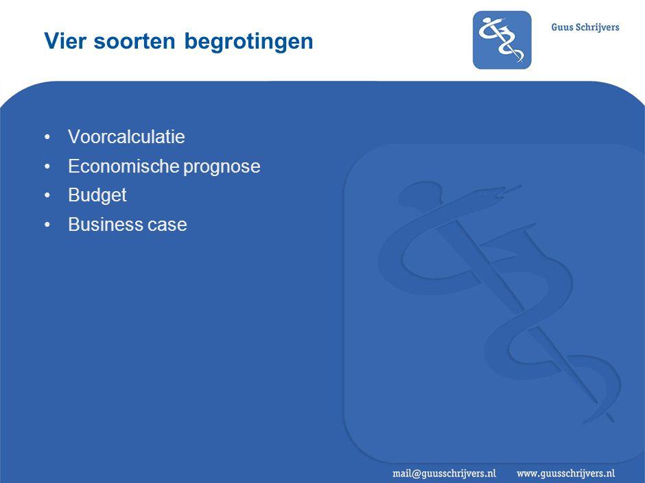 Vier soorten begrotingen •Voorcalculatie •Economische prognose •Budget •Business case
