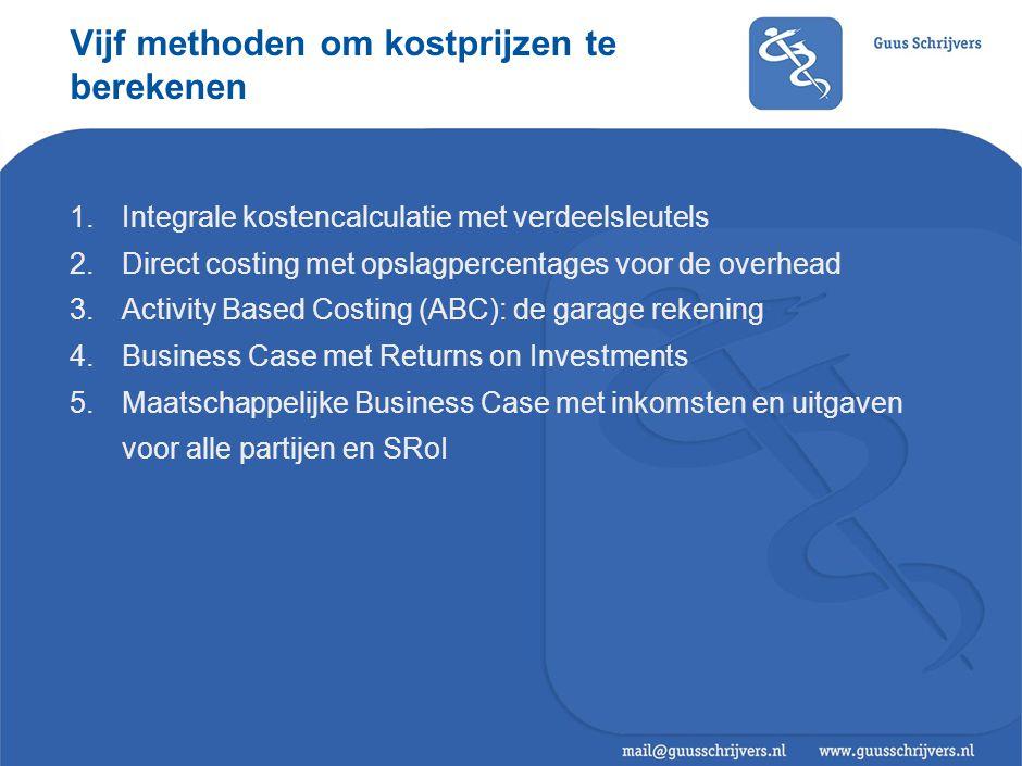 Vijf methoden om kostprijzen te berekenen 1.Integrale kostencalculatie met verdeelsleutels 2.Direct costing met opslagpercentages voor de overhead 3.A