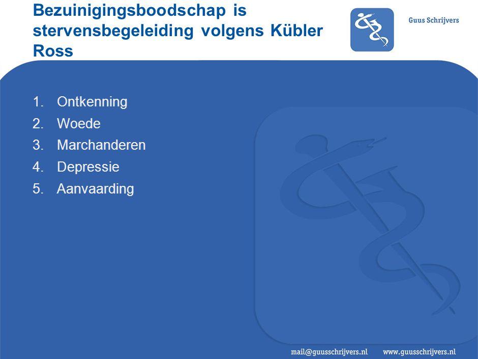 Bezuinigingsboodschap is stervensbegeleiding volgens Kübler Ross 1.Ontkenning 2.Woede 3.Marchanderen 4.Depressie 5.Aanvaarding