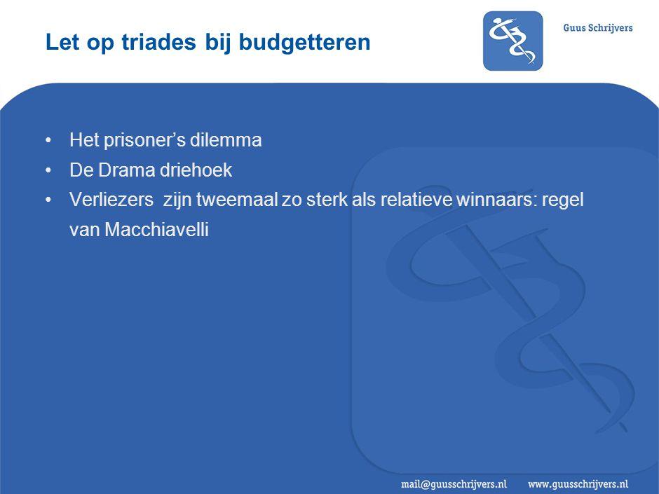 Let op triades bij budgetteren •Het prisoner's dilemma •De Drama driehoek •Verliezers zijn tweemaal zo sterk als relatieve winnaars: regel van Macchiavelli