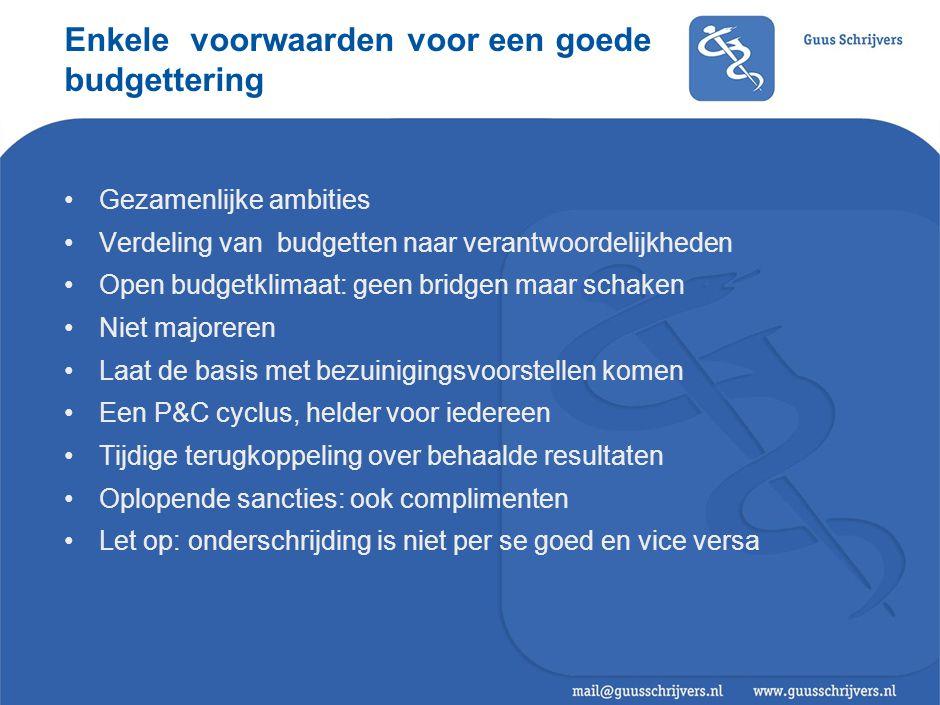 Enkele voorwaarden voor een goede budgettering •Gezamenlijke ambities •Verdeling van budgetten naar verantwoordelijkheden •Open budgetklimaat: geen br
