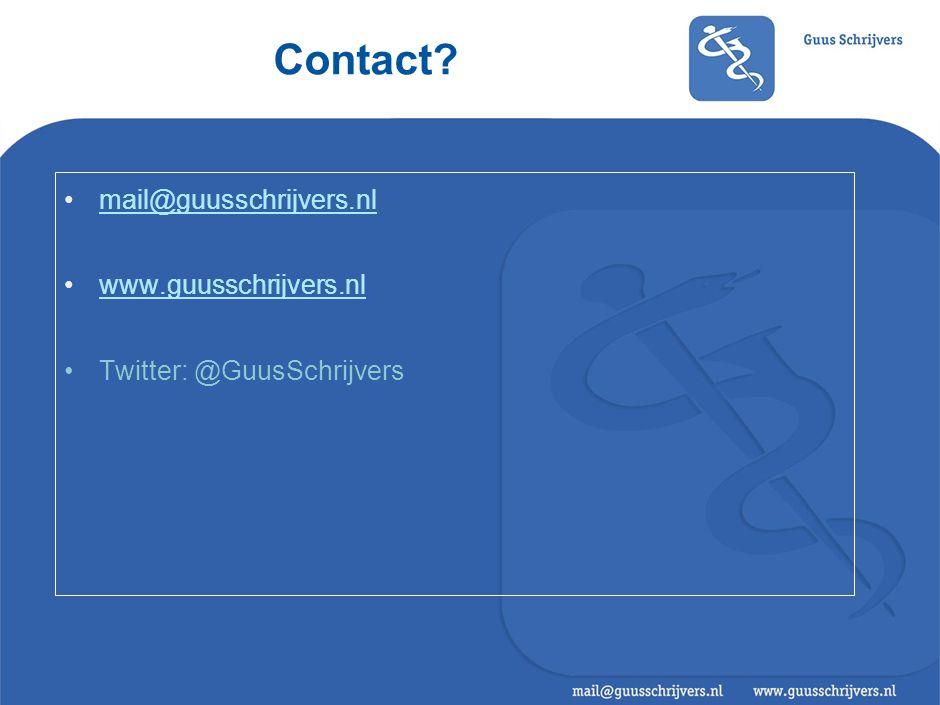 Contact? •mail@guusschrijvers.nlmail@guusschrijvers.nl •www.guusschrijvers.nlwww.guusschrijvers.nl •Twitter: @GuusSchrijvers