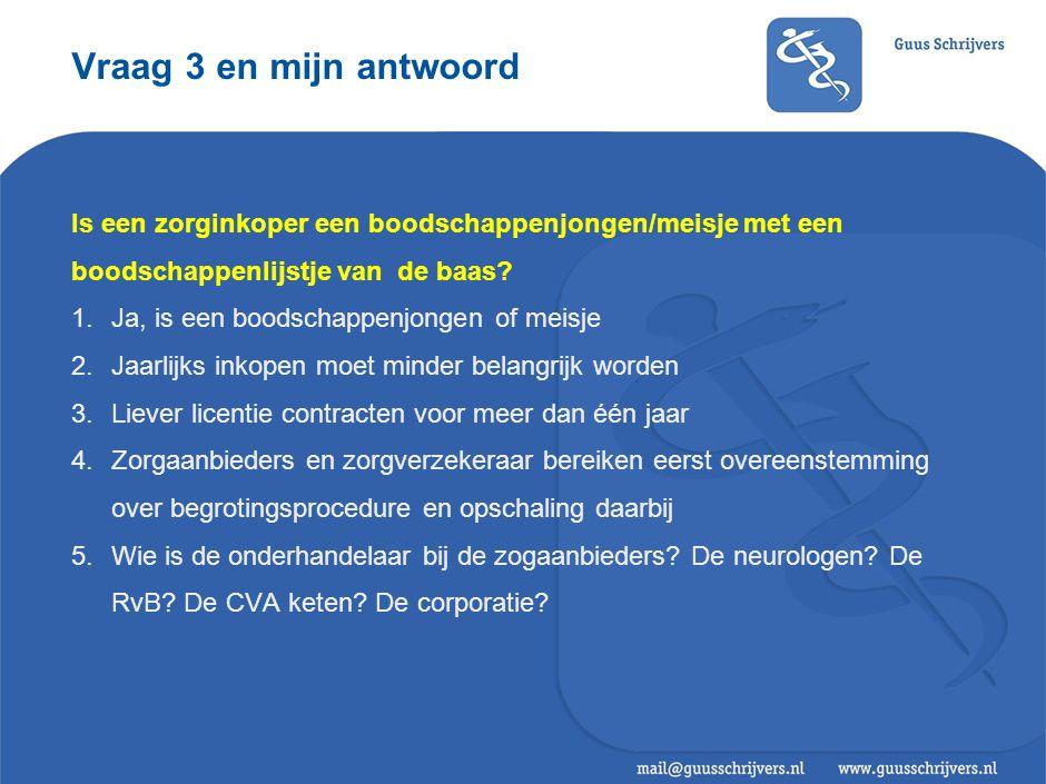 Vraag 3 en mijn antwoord Is een zorginkoper een boodschappenjongen/meisje met een boodschappenlijstje van de baas.