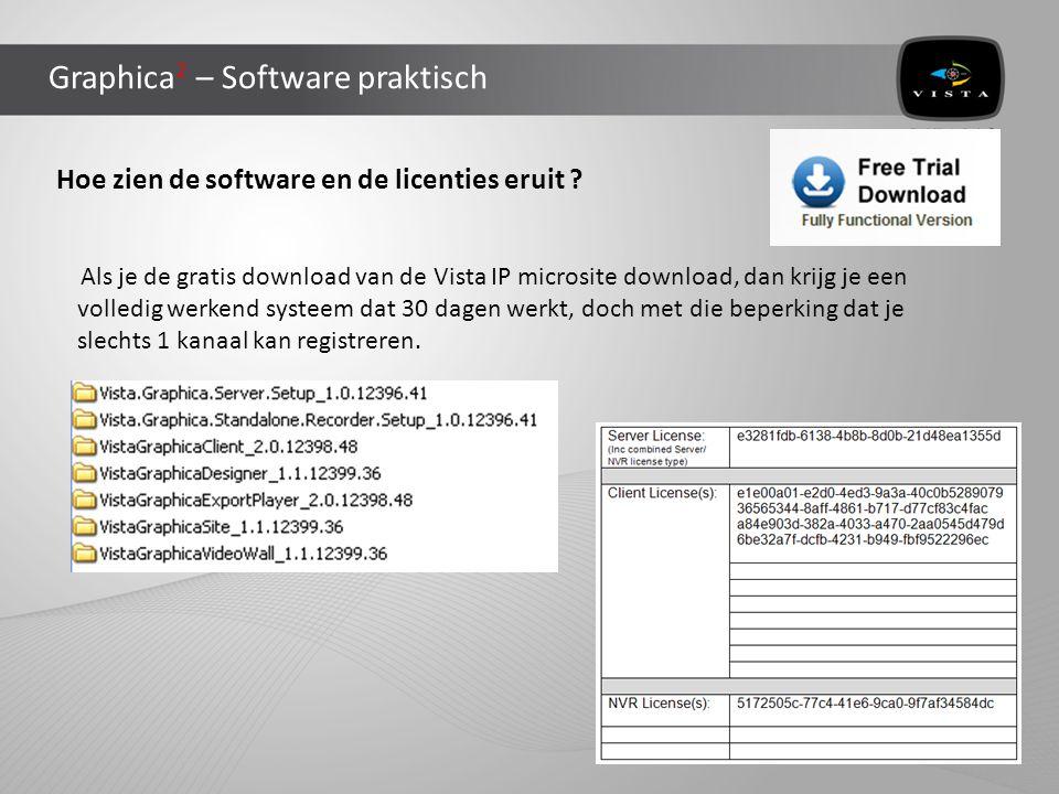 Graphica 2 – Software praktisch Hoe zien de software en de licenties eruit ? Als je de gratis download van de Vista IP microsite download, dan krijg j