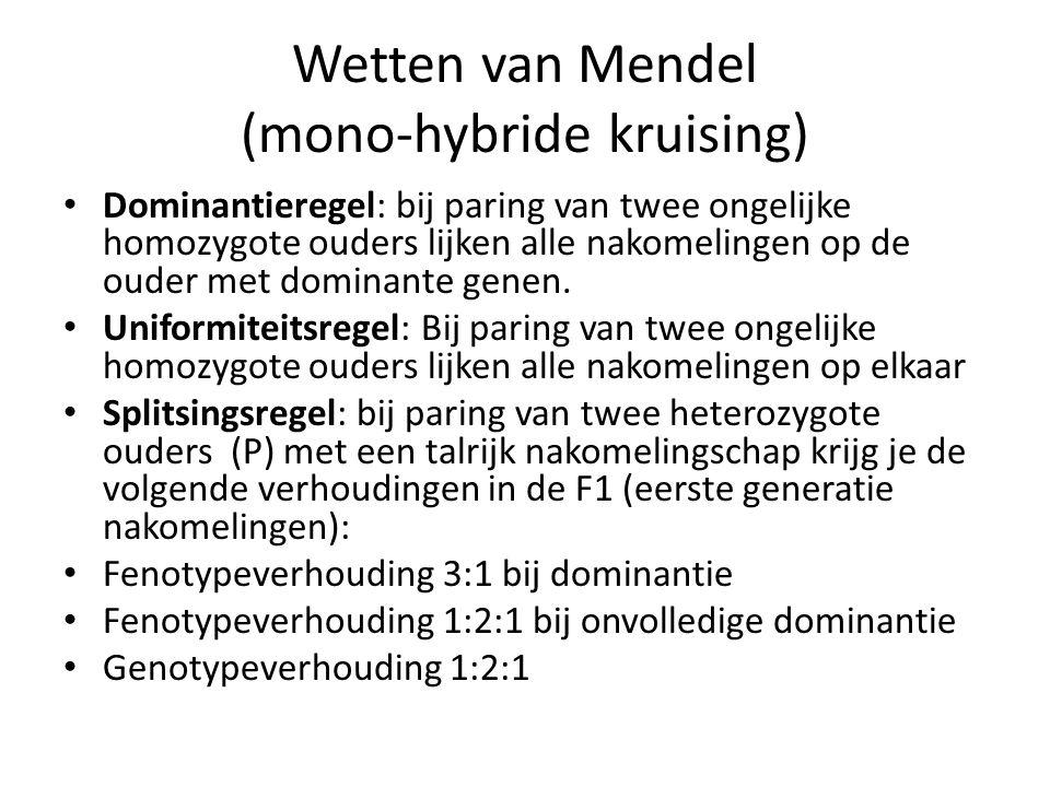 Wetten van Mendel (mono-hybride kruising) • Dominantieregel: bij paring van twee ongelijke homozygote ouders lijken alle nakomelingen op de ouder met dominante genen.