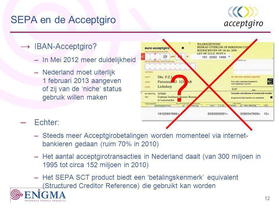 → IBAN-Acceptgiro? –In Mei 2012 meer duidelijkheid –Nederland moet uiterlijk 1 februari 2013 aangeven of zij van de 'niche' status gebruik willen make