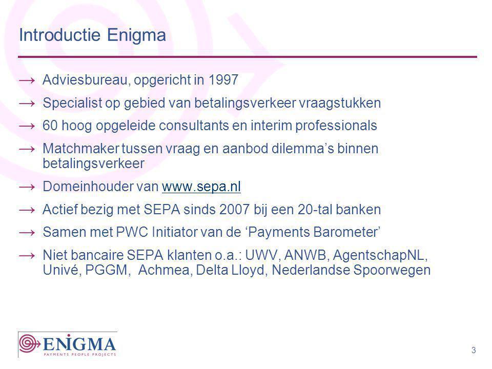 Introductie Enigma → Adviesbureau, opgericht in 1997 → Specialist op gebied van betalingsverkeer vraagstukken → 60 hoog opgeleide consultants en inter