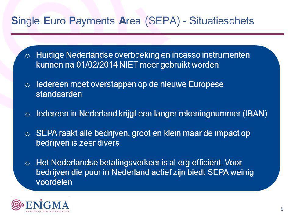 Single Euro Payments Area (SEPA) - Situatieschets o Huidige Nederlandse overboeking en incasso instrumenten kunnen na 01/02/2014 NIET meer gebruikt wo