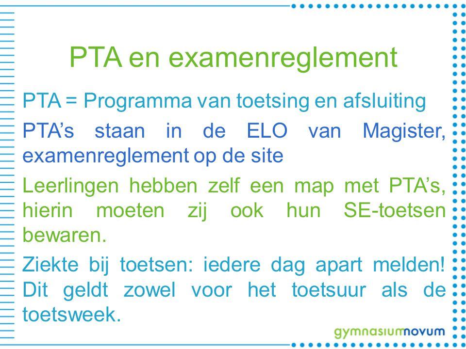 PTA en examenreglement PTA = Programma van toetsing en afsluiting PTA's staan in de ELO van Magister, examenreglement op de site Leerlingen hebben zelf een map met PTA's, hierin moeten zij ook hun SE-toetsen bewaren.