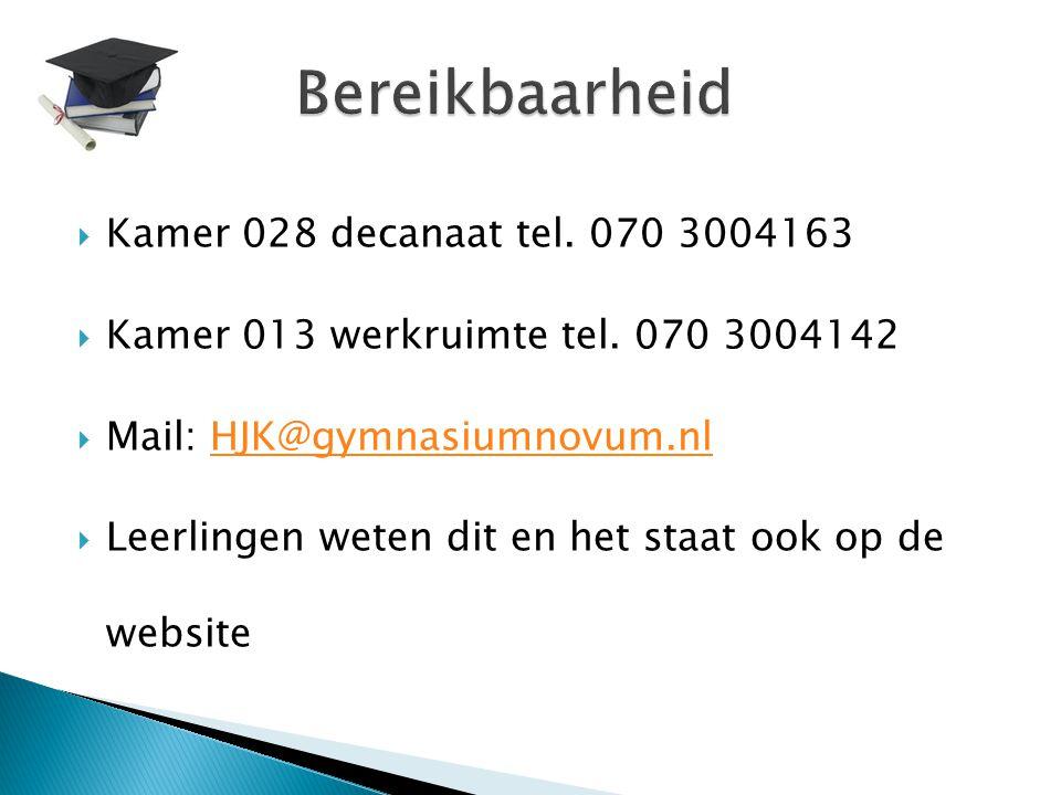  Kamer 028 decanaat tel.070 3004163  Kamer 013 werkruimte tel.