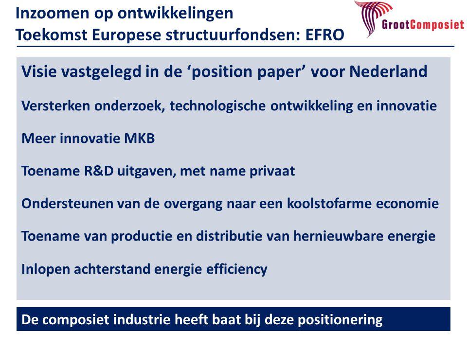 Inzoomen op ontwikkelingen Toekomst Europese structuurfondsen: EFRO De composiet industrie heeft baat bij deze positionering Visie vastgelegd in de 'p