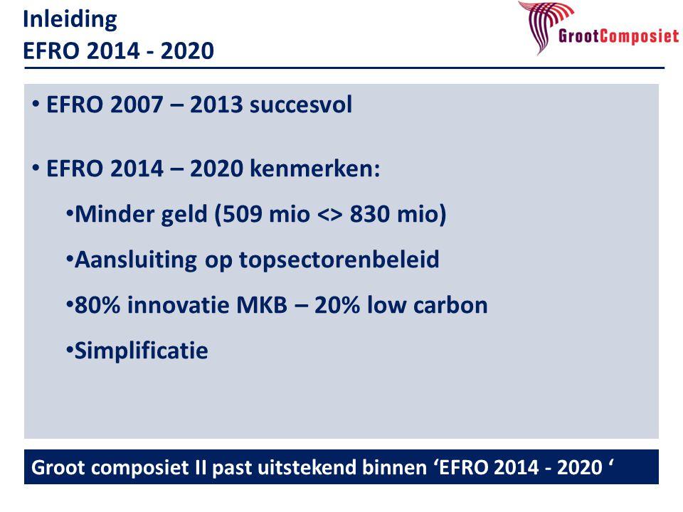 • EFRO 2007 – 2013 succesvol • EFRO 2014 – 2020 kenmerken: • Minder geld (509 mio <> 830 mio) • Aansluiting op topsectorenbeleid • 80% innovatie MKB – 20% low carbon • Simplificatie Inleiding EFRO 2014 - 2020 Groot composiet II past uitstekend binnen 'EFRO 2014 - 2020 '
