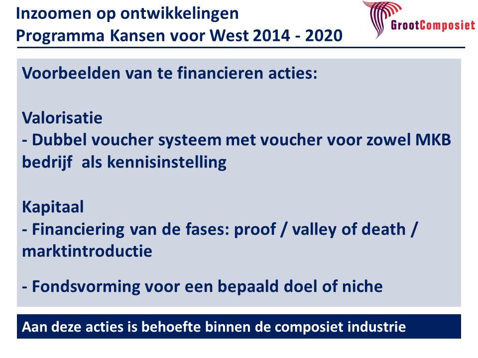 Voorbeelden van te financieren acties: Valorisatie - Dubbel voucher systeem met voucher voor zowel MKB bedrijf als kennisinstelling Kapitaal - Financi