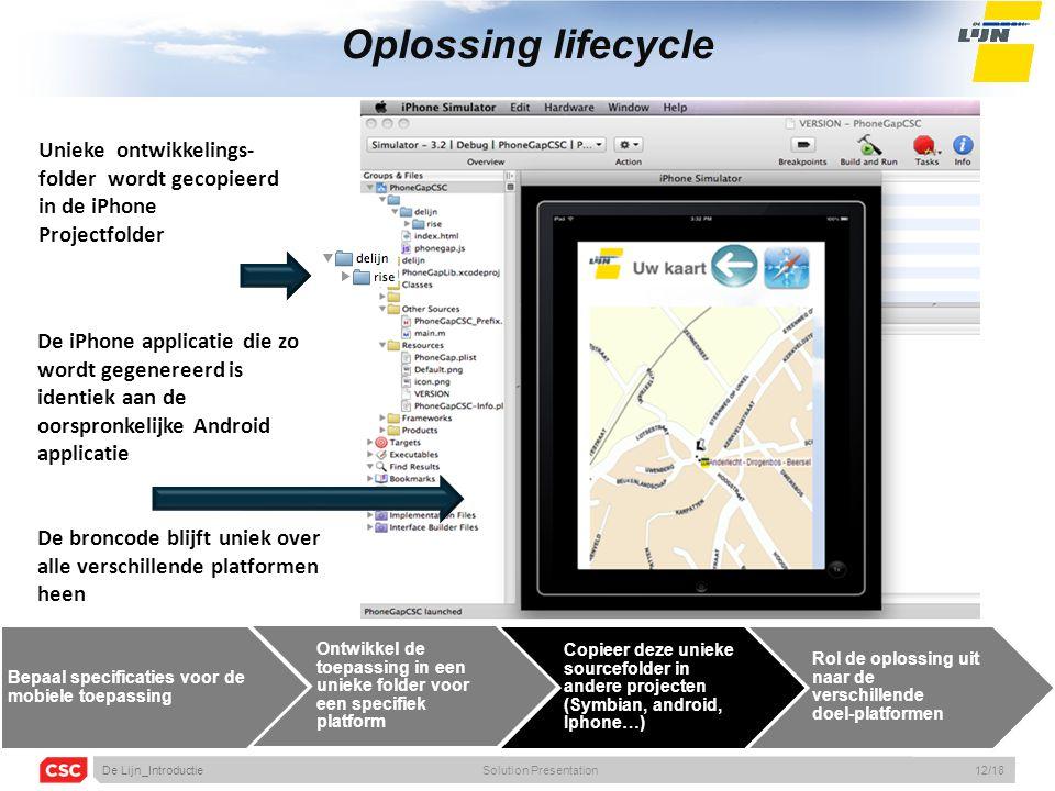 Oplossing lifecycle Unieke ontwikkelings- folder wordt gecopieerd in de iPhone Projectfolder De iPhone applicatie die zo wordt gegenereerd is identiek aan de oorspronkelijke Android applicatie De broncode blijft uniek over alle verschillende platformen heen Bepaal specificaties voor de mobiele toepassing Ontwikkel de toepassing in een unieke folder voor een specifiek platform Copieer deze unieke sourcefolder in andere projecten (Symbian, android, Iphone…) Rol de oplossing uit naar de verschillende doel-platformen De Lijn_IntroductieSolution Presentation12/18