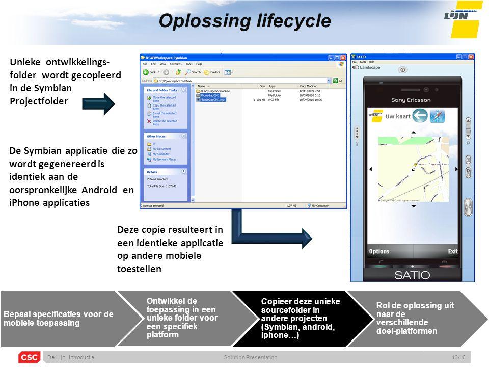 Oplossing lifecycle Deze copie resulteert in een identieke applicatie op andere mobiele toestellen Bepaal specificaties voor de mobiele toepassing Ontwikkel de toepassing in een unieke folder voor een specifiek platform Copieer deze unieke sourcefolder in andere projecten (Symbian, android, Iphone…) Rol de oplossing uit naar de verschillende doel-platformen Unieke ontwikkelings- folder wordt gecopieerd in de Symbian Projectfolder De Symbian applicatie die zo wordt gegenereerd is identiek aan de oorspronkelijke Android en iPhone applicaties De Lijn_IntroductieSolution Presentation13/18