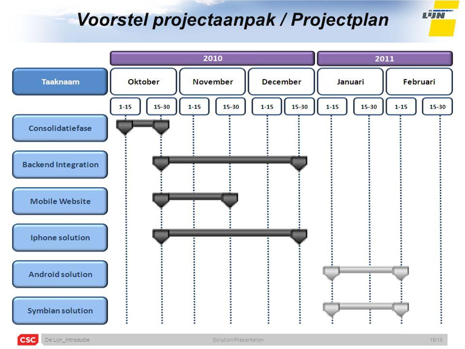 Voorstel projectaanpak / Projectplan De Lijn_IntroductieSolution Presentation16/18
