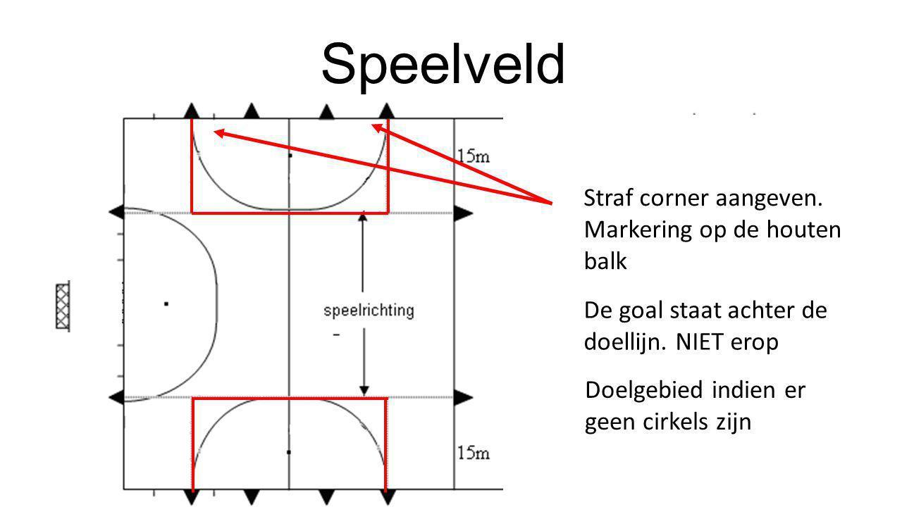 Speelveld Straf corner aangeven. Markering op de houten balk De goal staat achter de doellijn. NIET erop Doelgebied indien er geen cirkels zijn