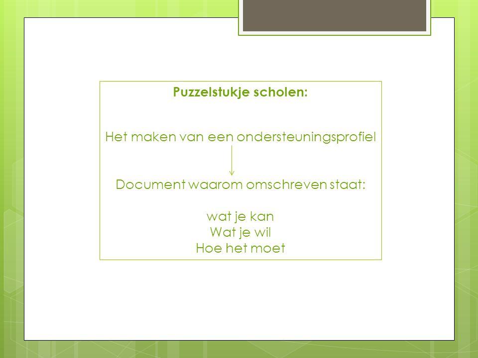 Puzzelstukje scholen: Het maken van een ondersteuningsprofiel Document waarom omschreven staat: wat je kan Wat je wil Hoe het moet