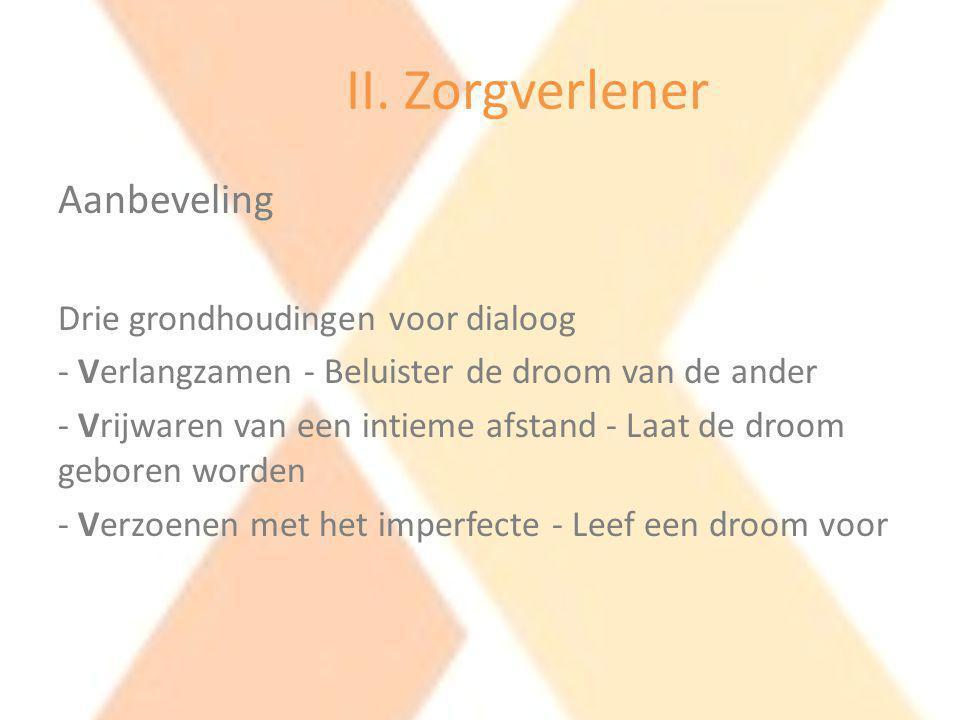 II. Zorgverlener Aanbeveling Drie grondhoudingen voor dialoog - Verlangzamen - Beluister de droom van de ander - Vrijwaren van een intieme afstand - L