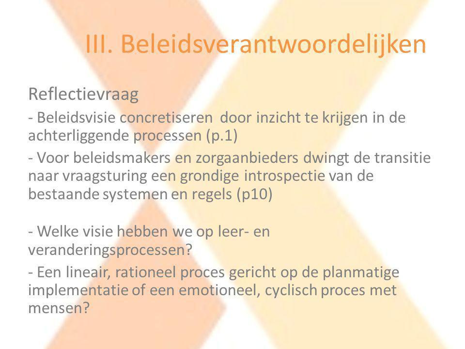 III. Beleidsverantwoordelijken Aanbeveling – Werken aan een open feedbackcultuur