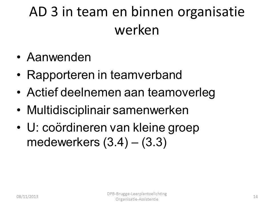 AD 3 in team en binnen organisatie werken •Aanwenden •Rapporteren in teamverband •Actief deelnemen aan teamoverleg •Multidisciplinair samenwerken •U: coördineren van kleine groep medewerkers (3.4) – (3.3) 08/11/2013 DPB-Brugge-Leerplantoelichting Organisatie-Assistentie 14