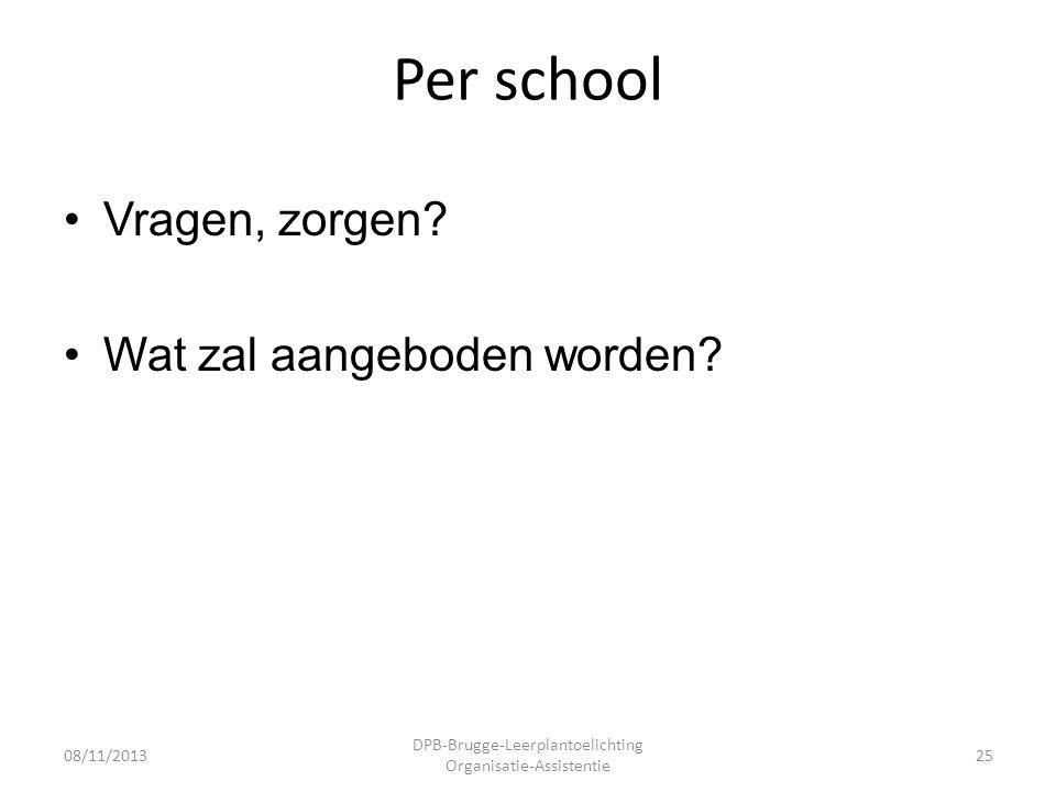 Per school •Vragen, zorgen. •Wat zal aangeboden worden.