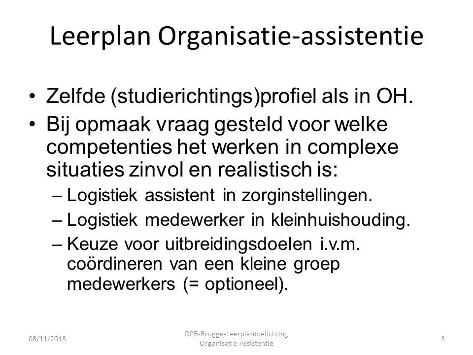 Leerplan Organisatie-assistentie •Zelfde (studierichtings)profiel als in OH.