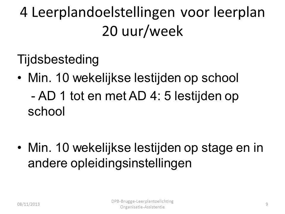 4 Leerplandoelstellingen voor leerplan 20 uur/week Tijdsbesteding •Min.