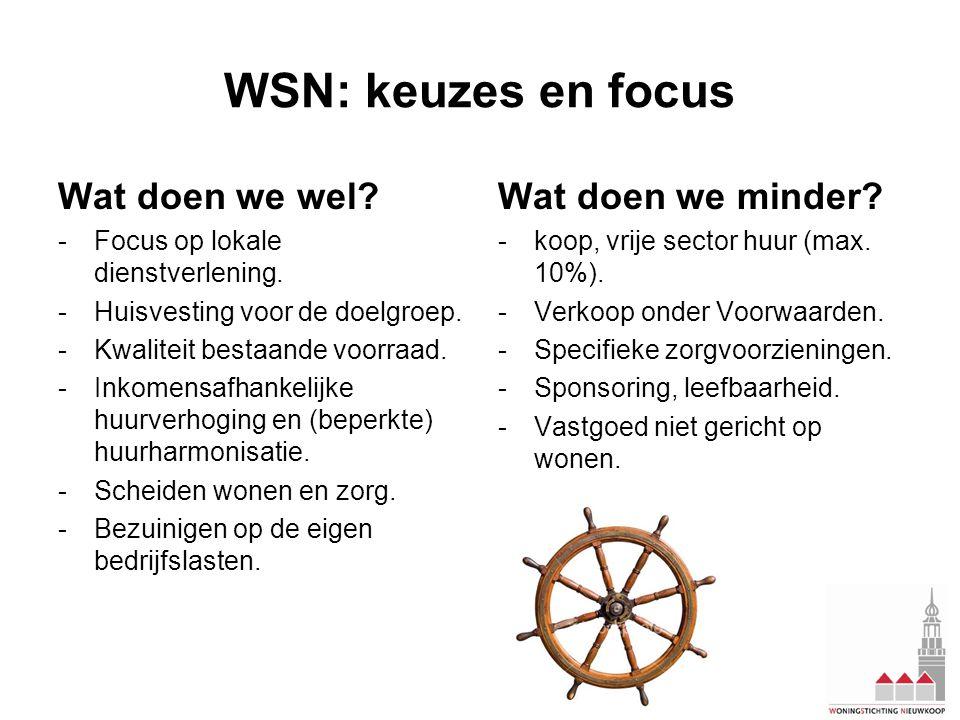 WSN: keuzes en focus Wat doen we wel. -Focus op lokale dienstverlening.