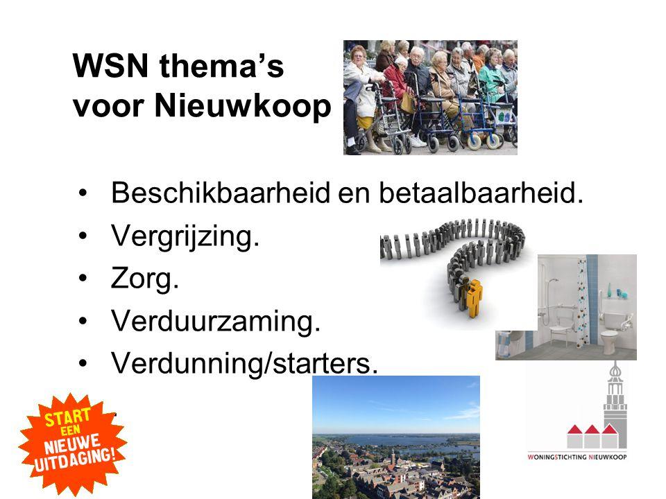 WSN thema's voor Nieuwkoop •Beschikbaarheid en betaalbaarheid.