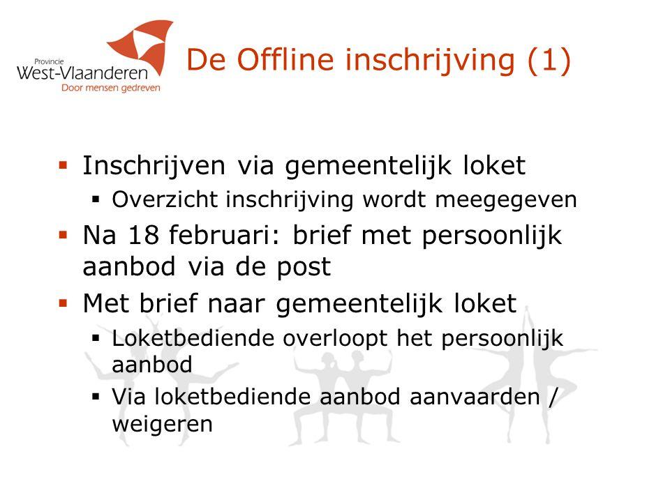 De Offline inschrijving (1)  Inschrijven via gemeentelijk loket  Overzicht inschrijving wordt meegegeven  Na 18 februari: brief met persoonlijk aan