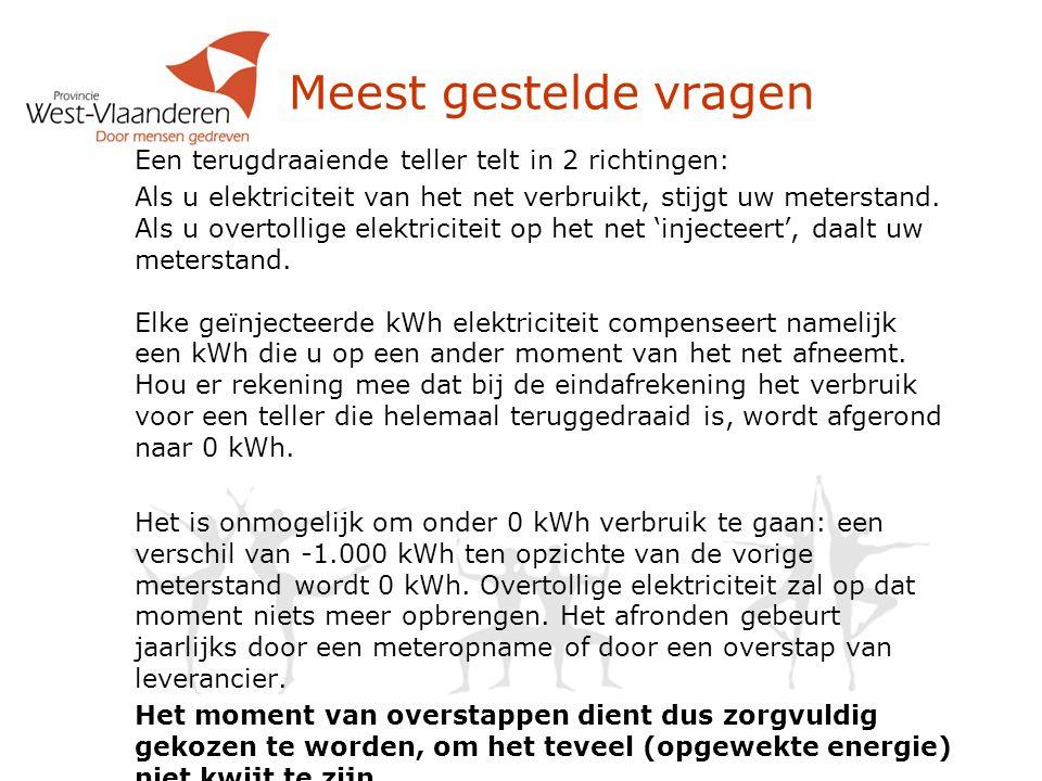 Een terugdraaiende teller telt in 2 richtingen: Als u elektriciteit van het net verbruikt, stijgt uw meterstand. Als u overtollige elektriciteit op he